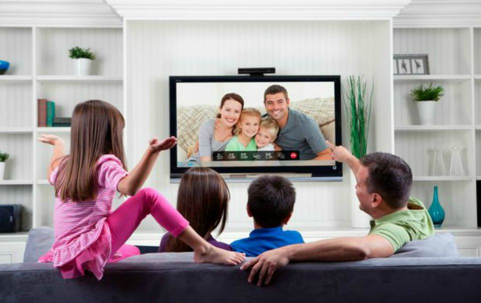 family with television